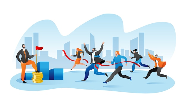 Business marathone race, businesspeople race on track flat Premium Vector