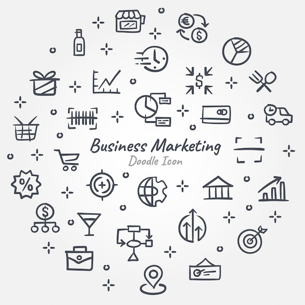 Business marketing doodle icon banner Premium Vector