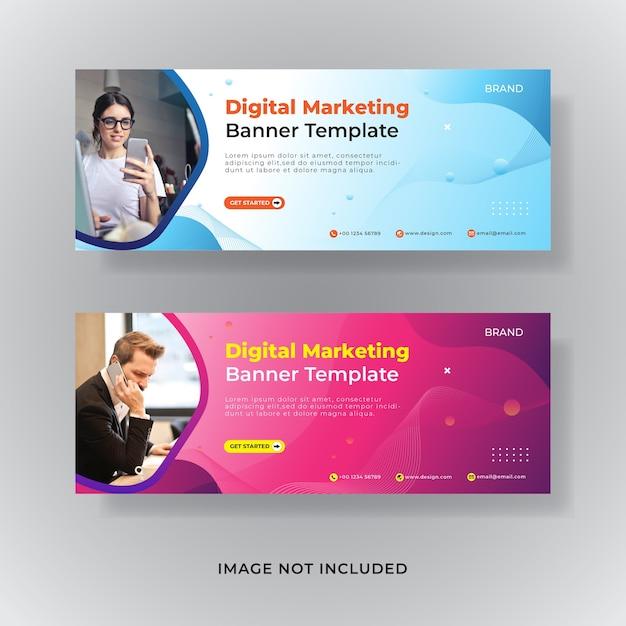 ビジネスマーケティングfacebookカバーソーシャルメディア投稿バナー Premiumベクター