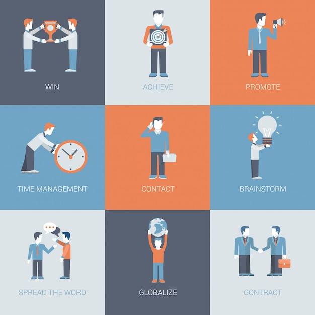 Business marketing promotion people and object situations icons set. Free Vector