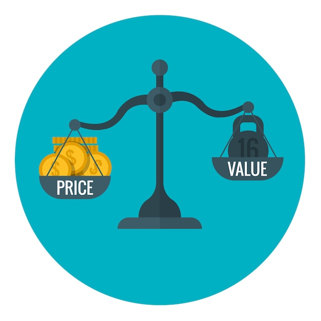 Business measurement of price and value with scale, pricing for profit vector concept Premium Vector