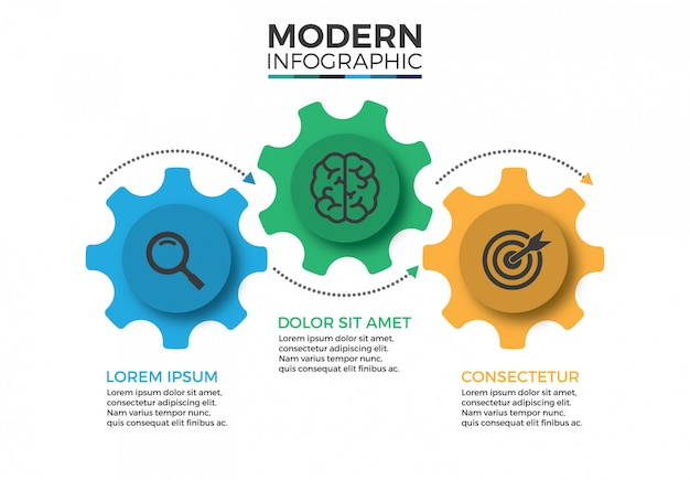 Business mechanism infographic design template with icons and 3 options or steps Premium Vector