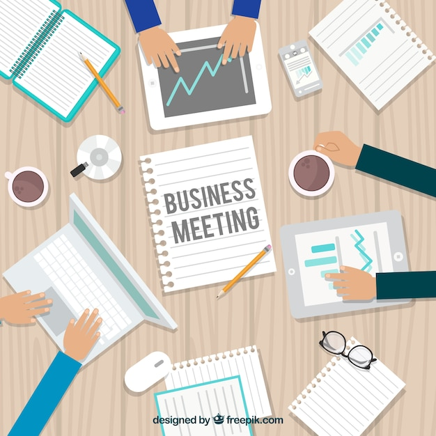 Business meeting background in top view