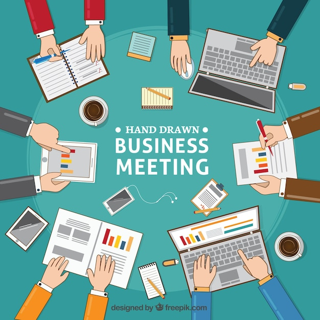 Business meeting background with documents and\ laptops