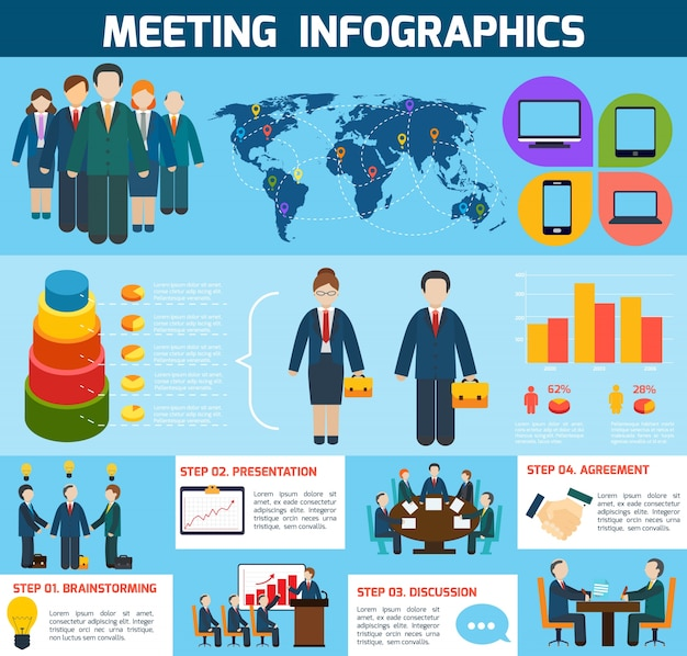 Business meeting brainstorming presentation\ discussion agreement infographics with charts vector\ illustration