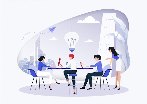 Business meeting and brainstorming. Premium Vector