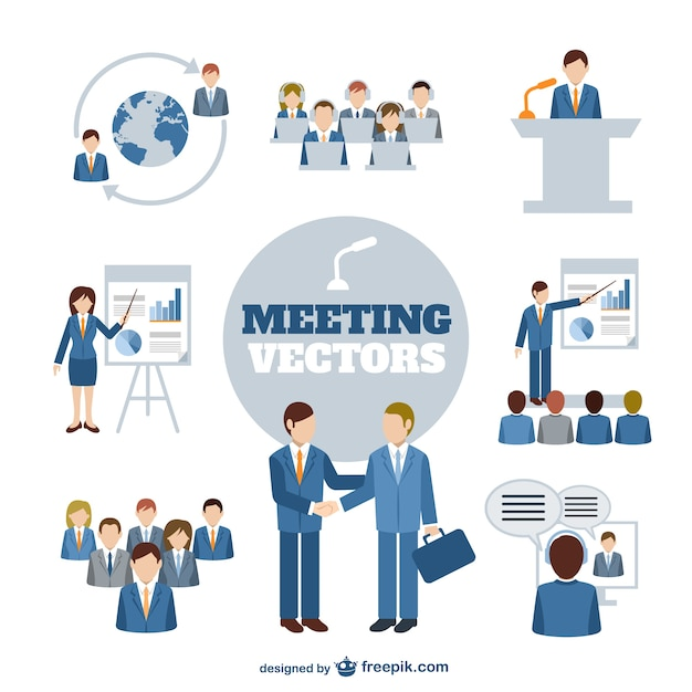Business meeting characters Free Vector