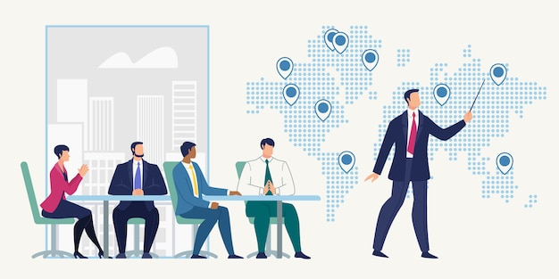 Business meeting in company office Premium Vector