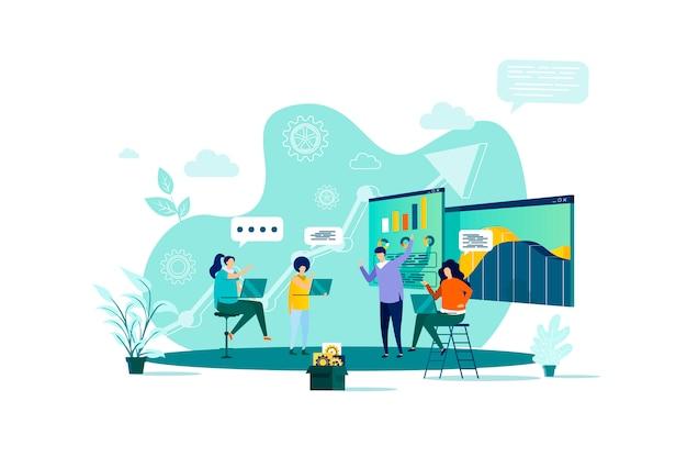 Концепция деловой встречи в стиле с персонажами людей в ситуации Premium векторы