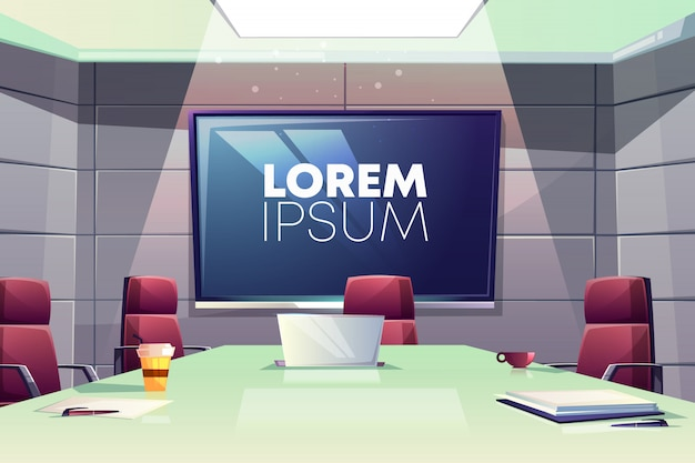 Business meeting or conference room interior cartoon illustration with comfortable armchairs Free Vector