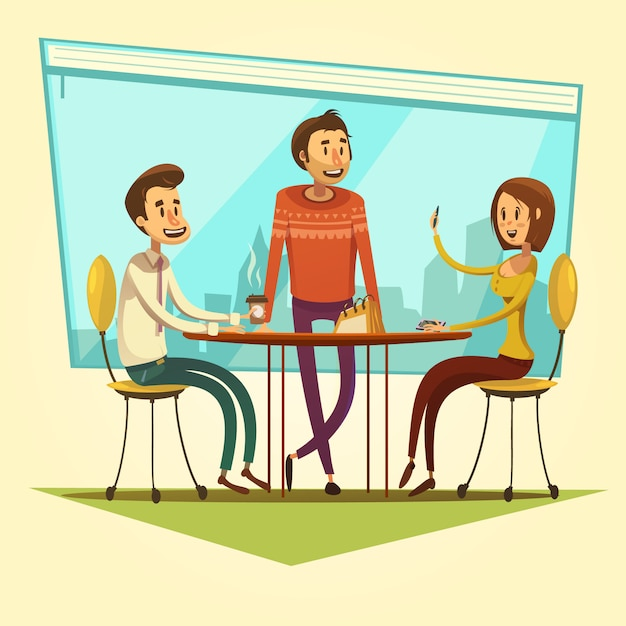 Business meeting and coworking with table and coffee on yellow background cartoon vector illustration Free Vector