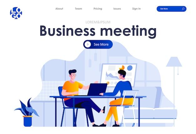 Business meeting flat landing page design web template Premium Vector