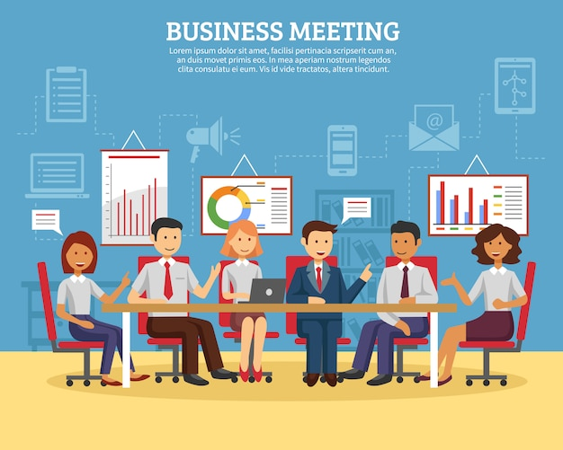 Business meeting flat Free Vector