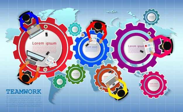 Business meeting in the form of gears and map Premium Vector