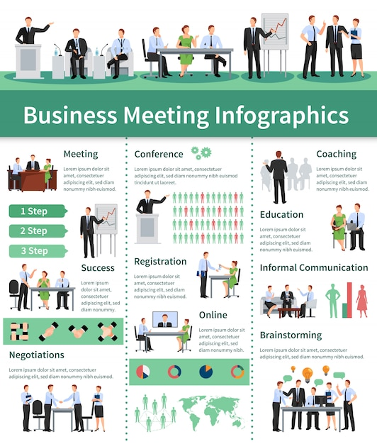 Business meeting infographic set. business meeting  information. Free Vector