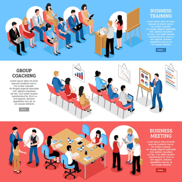 Business meeting isometric horizontal banners Free Vector