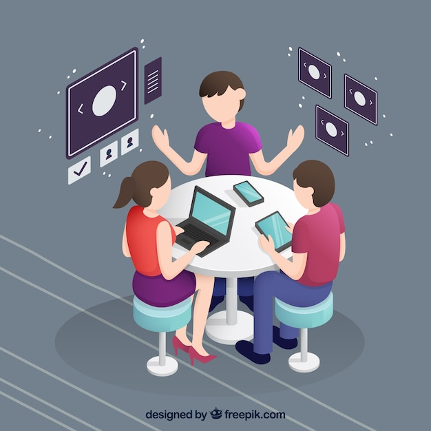 Business meeting in isometric perspective Free Vector