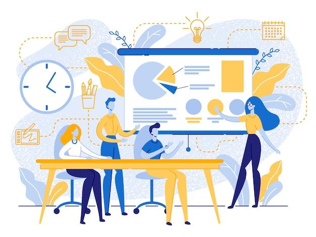 Business meeting in office, creative studio work Premium Vector