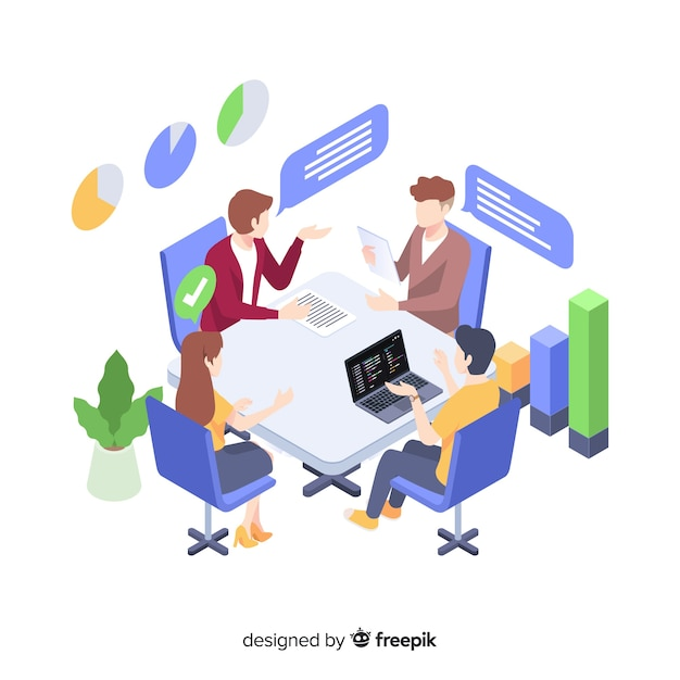 Business meeting at office illustration concept Free Vector