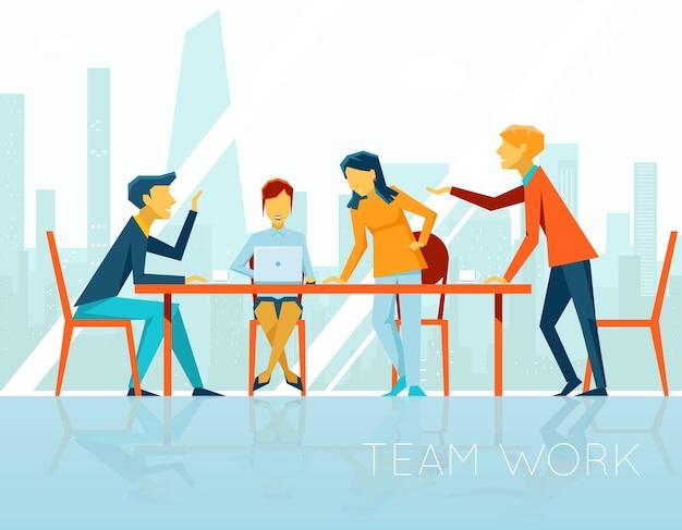 Incontro d'affari. persone che parlano e lavorano in ufficio. pausa caffè, donna d'affari e uomo d'affari, illustrazione vettoriale Vettore gratuito