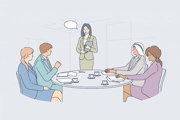 Business meeting presentation seminar teamwork communication concept Premium Vector