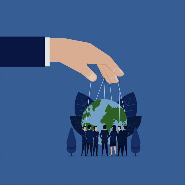 Business meeting to rule world hand hold globe with string puppet. Premium Vector