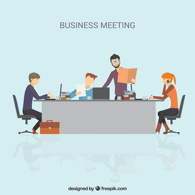 Business meeting scene in flat design