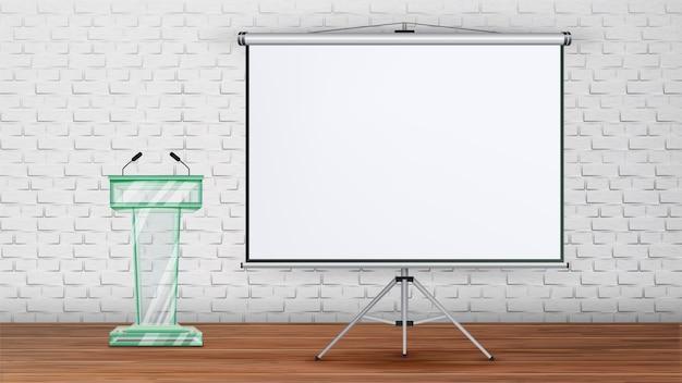 Business meeting seminar room template Premium Vector