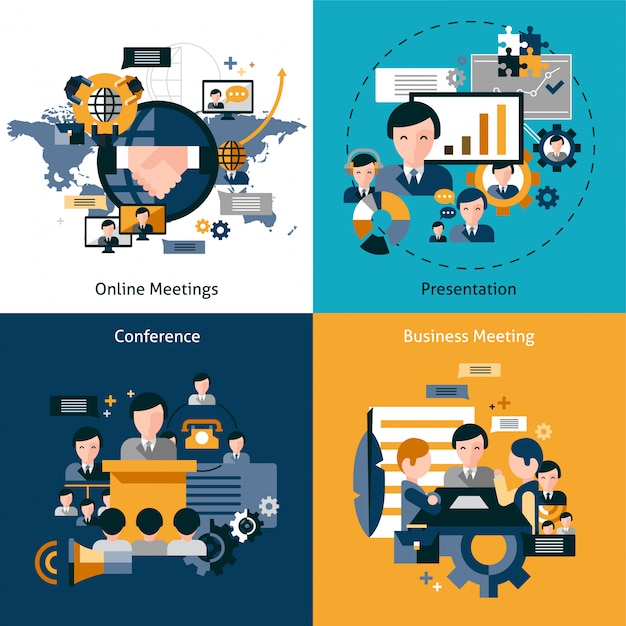 Business meeting set Free Vector