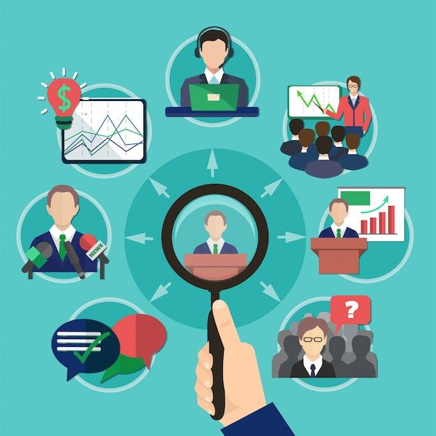 Business meeting speaker concept Free Vector
