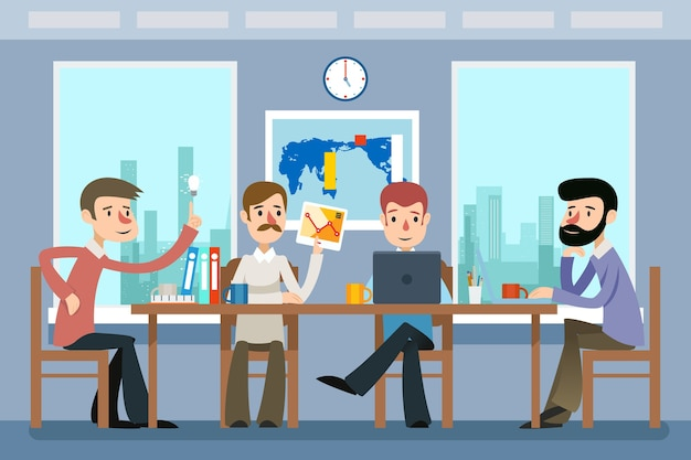 Деловая встреча. команда, работающая в офисе. рабочая команда, командная работа, идея и корпоративное рабочее место. деловая встреча и работа в команде векторные иллюстрации в плоском стиле Бесплатные векторы