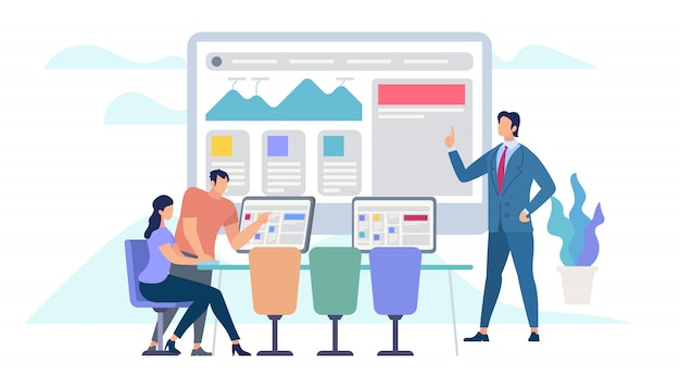 Business meeting and teamworking Premium Vector