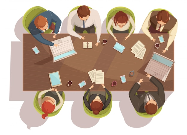 Business meeting top view concept with laptop and coffee cartoon vector illustration Free Vector