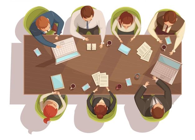 Concetto di vista superiore di riunione d'affari con l'illustrazione di vettore del fumetto del caffè e del computer portatile Vettore gratuito