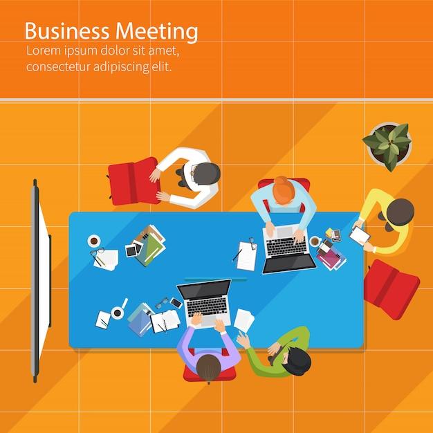 Business meeting top view Premium Vector
