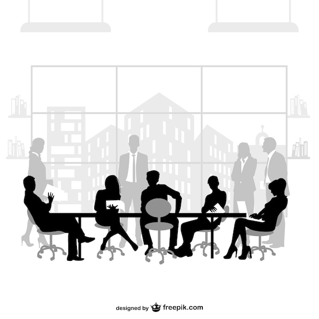 Business meeting vector silhouettes Free Vector
