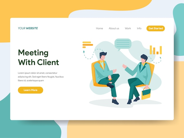 Business meeting with client for website page Premium Vector