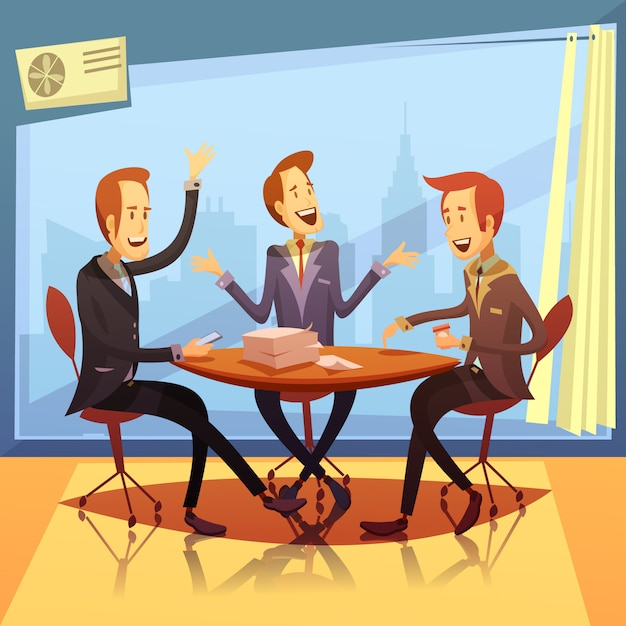 Business meeting with discussion and brainstorming symbols cartoon Free Vector