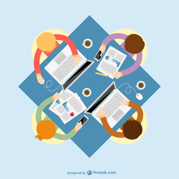 Business meeting with laptops and reports Free Vector