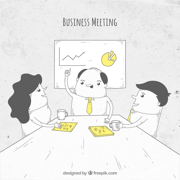Business meeting with nice hand drawn\ characters
