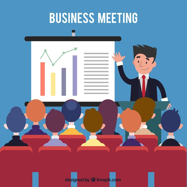 Business meeting with statistics