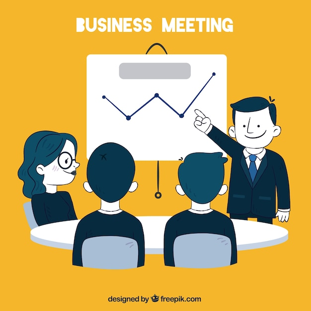 business meeting yellow background