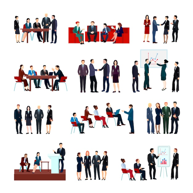 Business meetings set of employees and partners at conference briefing seminars Free Vector