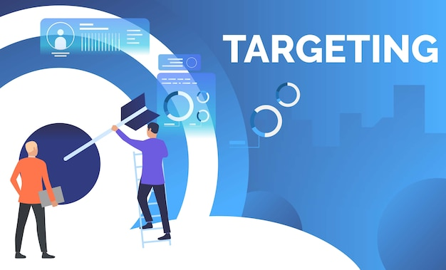 Business men setting arrow in business target Free Vector