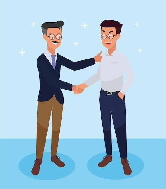 Деловые люди пожимают друг другу руки, чтобы поздравить успех в бизнесе Бесплатные векторы