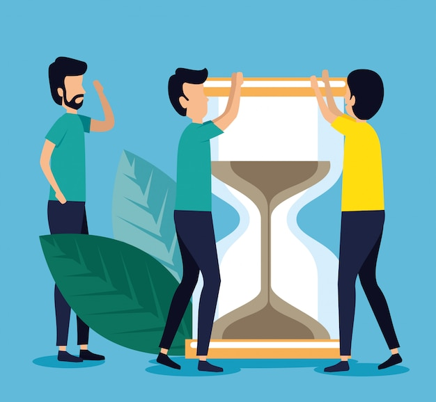 Business men teamwork with hourglass and leaves Free Vector