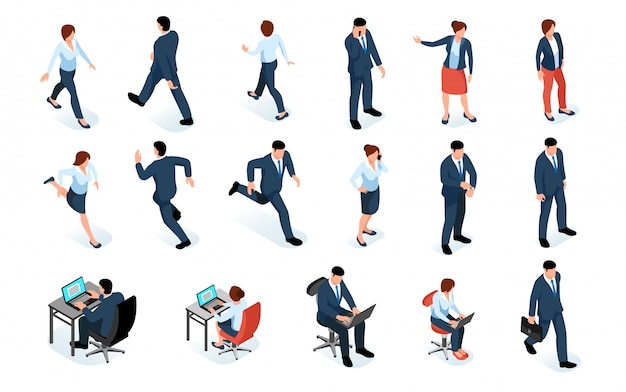 Business men and women isometric set of male and female characters in business suits and different poses isolated Free Vector