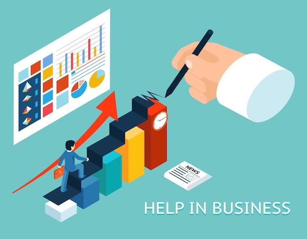 ビジネスメンターヘルプパートナー。アイソメトリック3d。パートナーシップと成長、アドバイスグラフチャート 無料ベクター