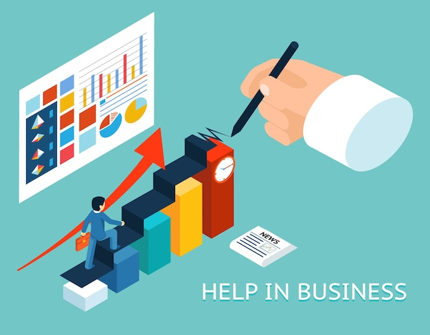 Business mentor help partner. isometric 3d. partnership and growth, advice graph chart Free Vector