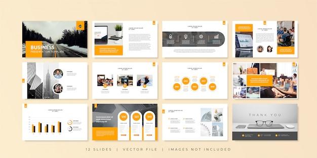 Business minimal slides presentation template. Premium Vector